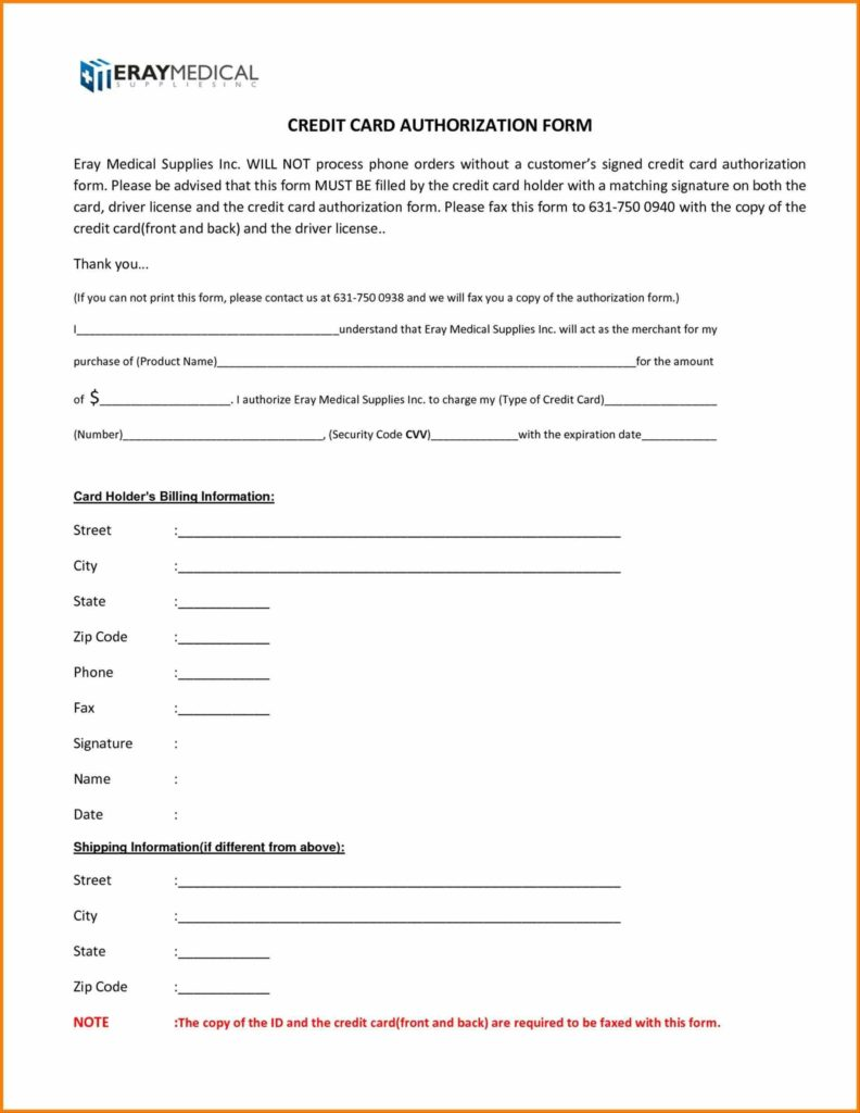 Medical Billing forms Templates and formats Examples In Word Excel Credit Credit Card Authorization