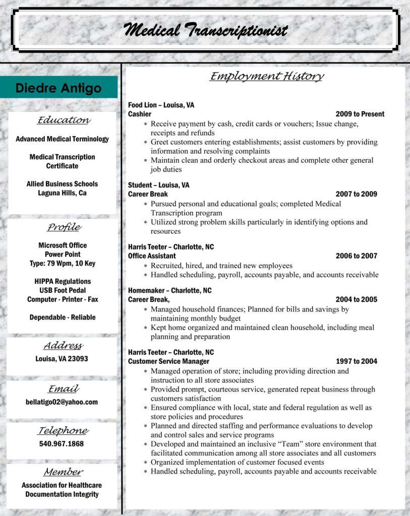 Medical Billing Resume Sample Free and Allied Student Dre Antigo Medical Transcriptionist