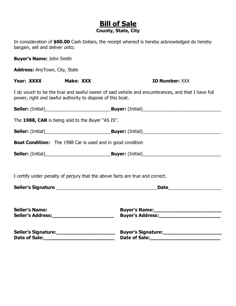Microsoft Bill Of Sale Template and Free Printable Free Car Bill Of Sale Template form Generic