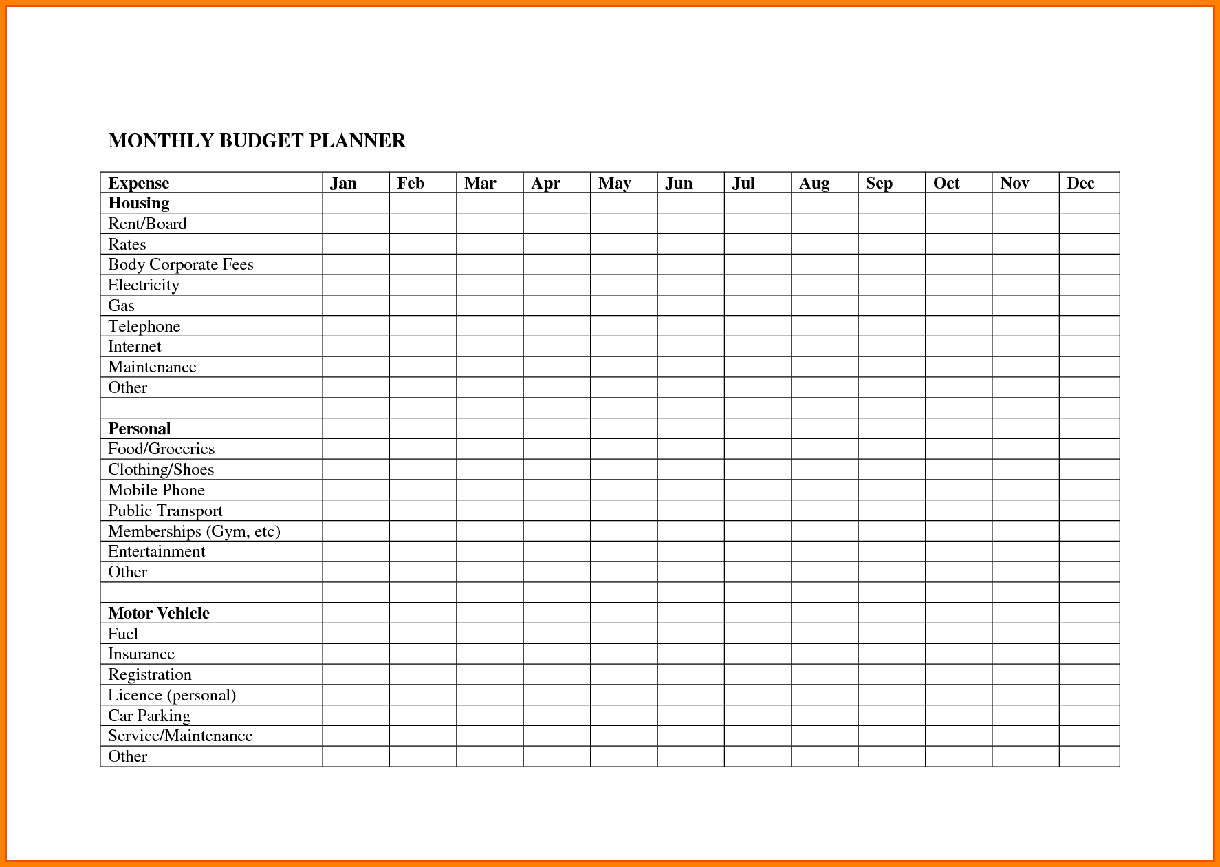 Monthly Bill organizer Template and 8 Monthly Bill Spreadsheet Monthly Bills Template