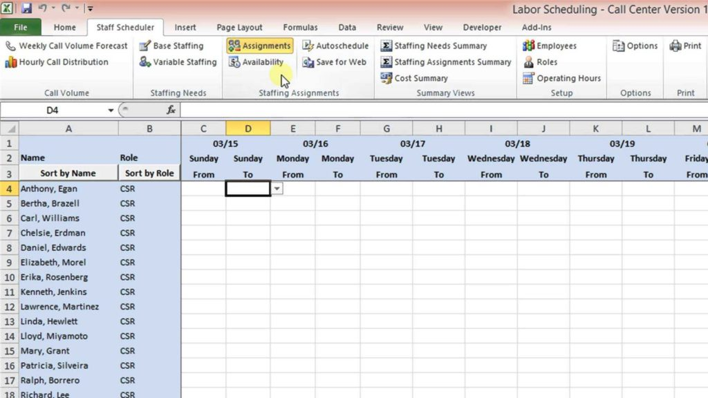 Monthly Employee Work Schedule Template Excel and Labor Scheduling Template for Excel Call Center Version Overview