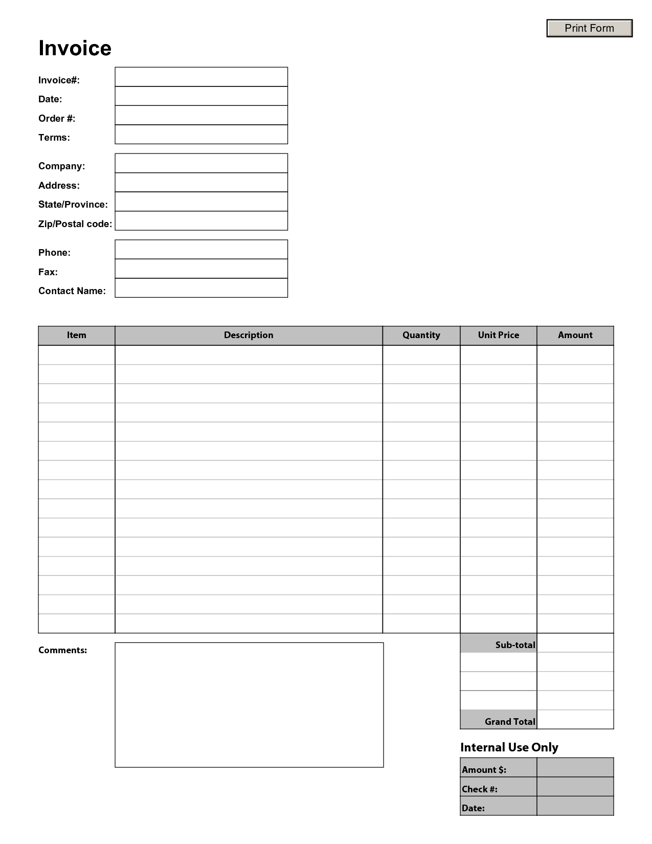 Monthly Invoice Template and Blank Invoice to Print Free to Do List
