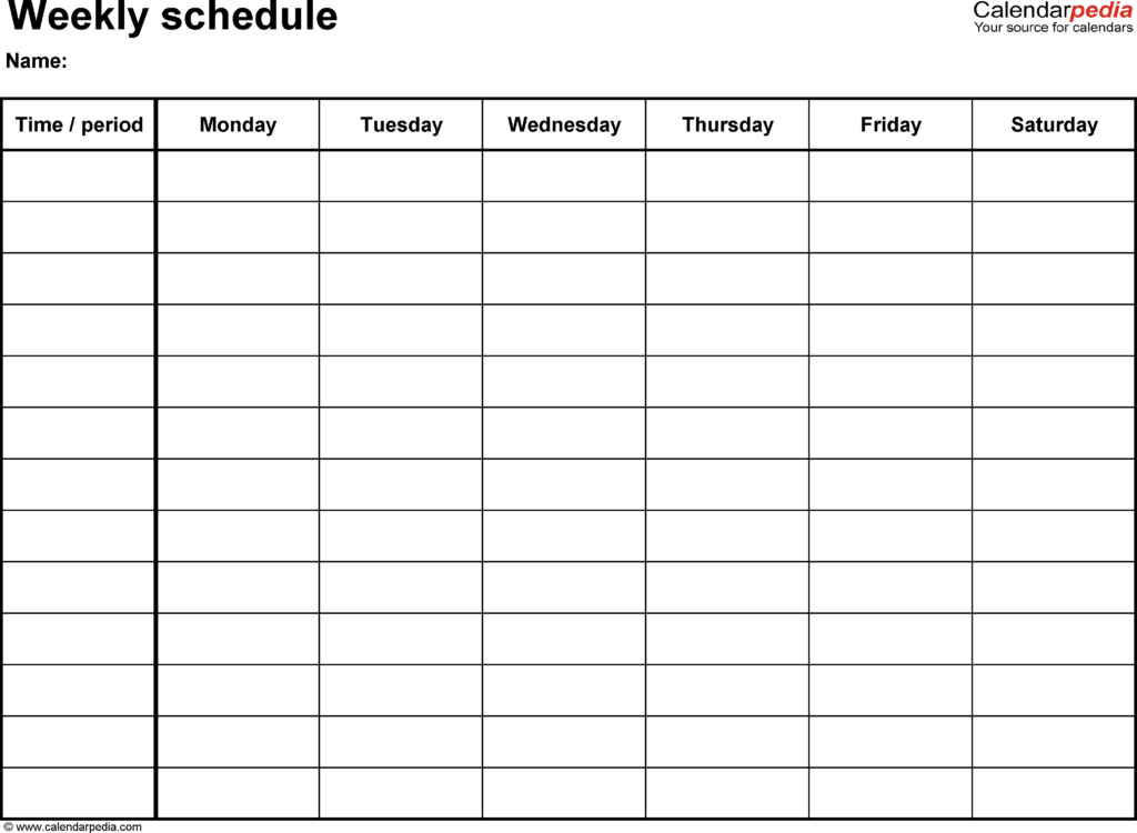 Monthly Work Schedule Template Excel and Free Weekly Schedule Templates for Excel 18 Templates