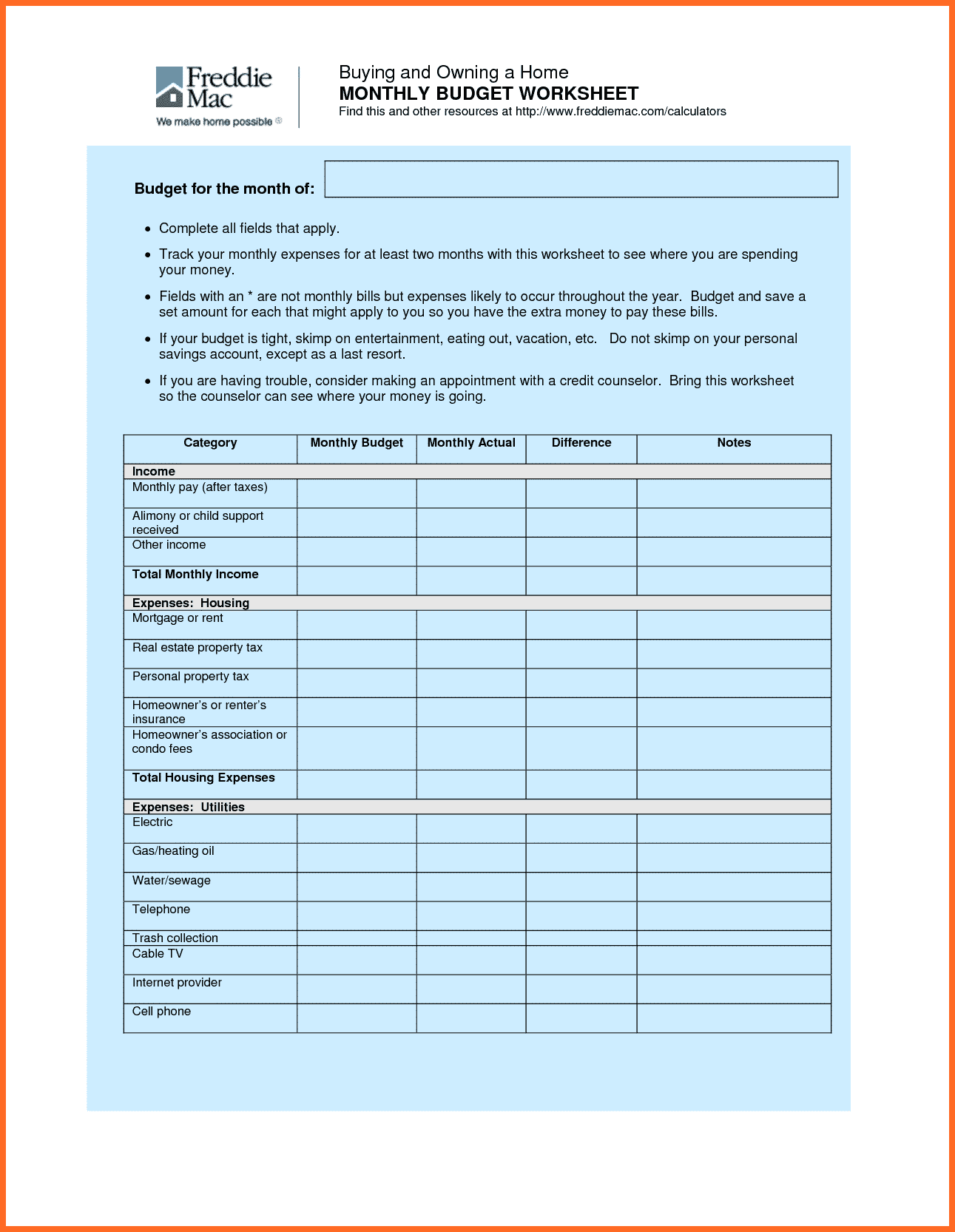 Mortgage Worksheet and Family Bud Worksheet soap format