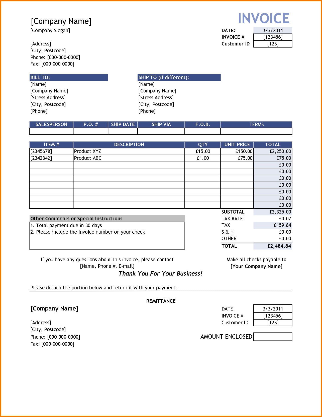 Moving Company Invoice Template Free and Sample Invoice Reimbursement Free Invoice Template