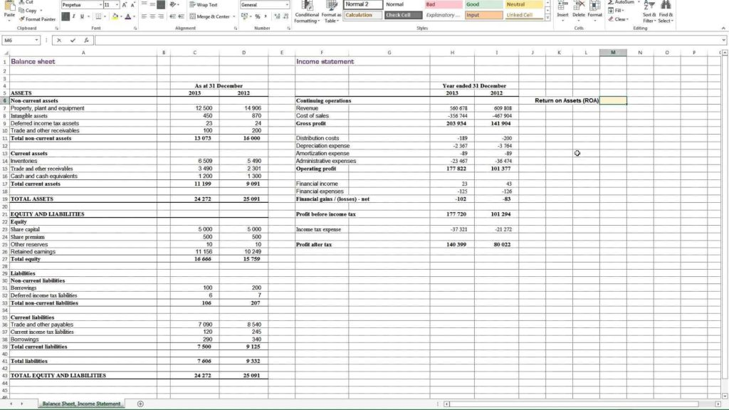 Non Profit Balance Sheet Template and Calculating Return On assets Roa In Excel Youtube