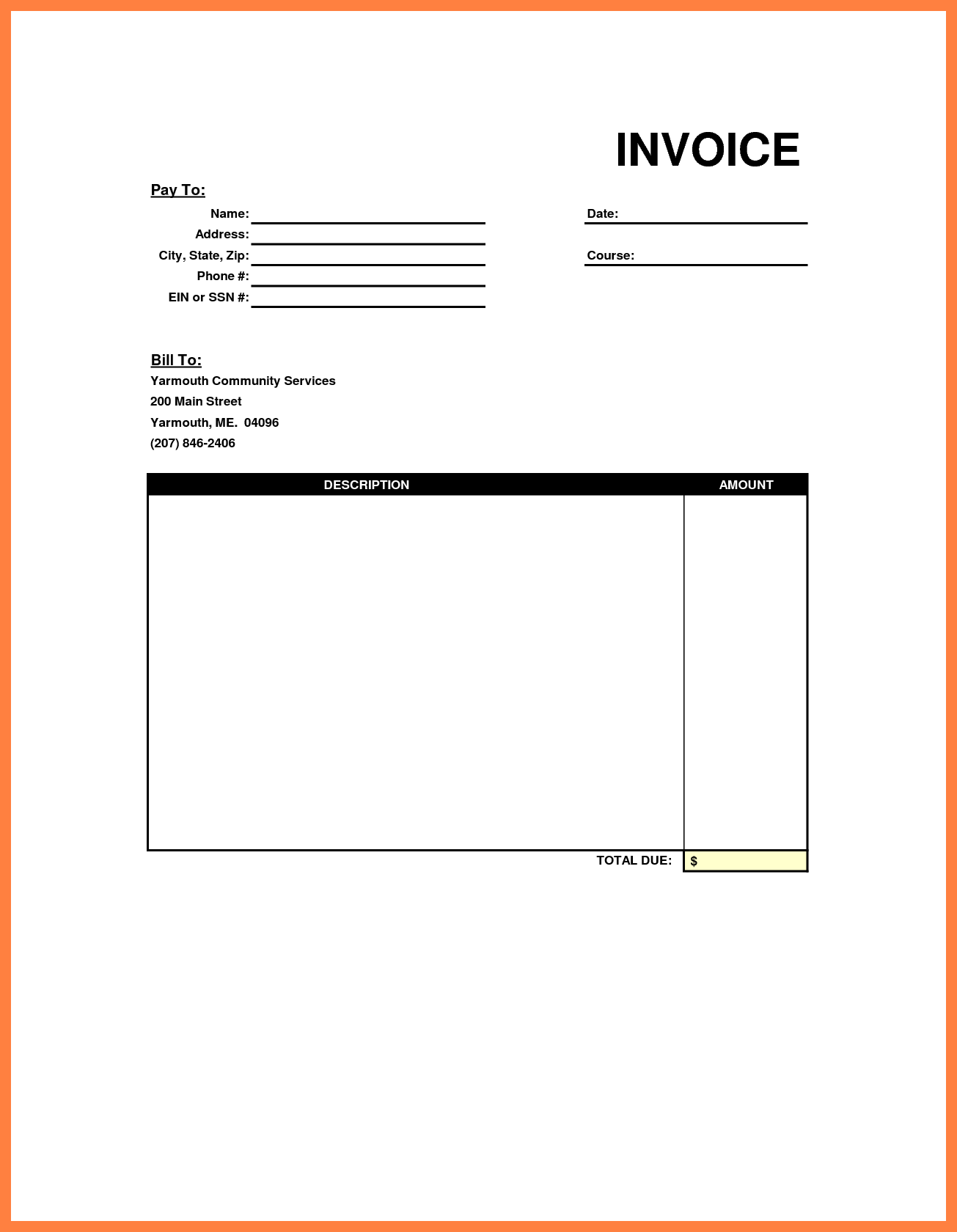 Paid Bills Template and Very Simple Invoice Template Sample with Blank Space In the Pay to