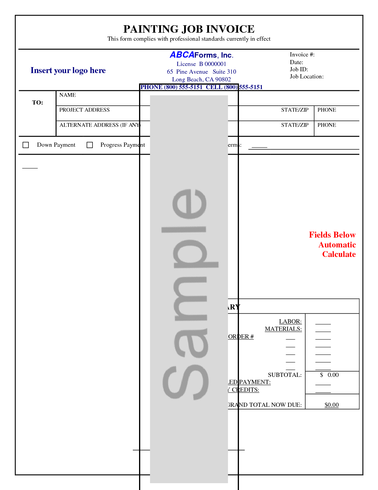 Painting Invoice Template and 10 Best Images Of Painters Invoice forms Invoice Templates