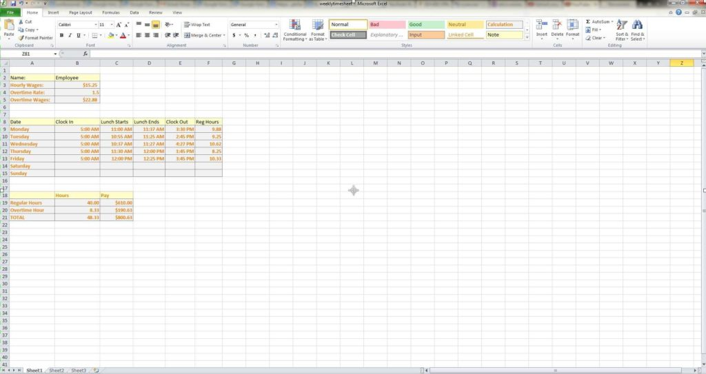 Payroll Report Template Excel and How to Make A Weekly Timesheet Calculator In Microsoft Excel Youtube