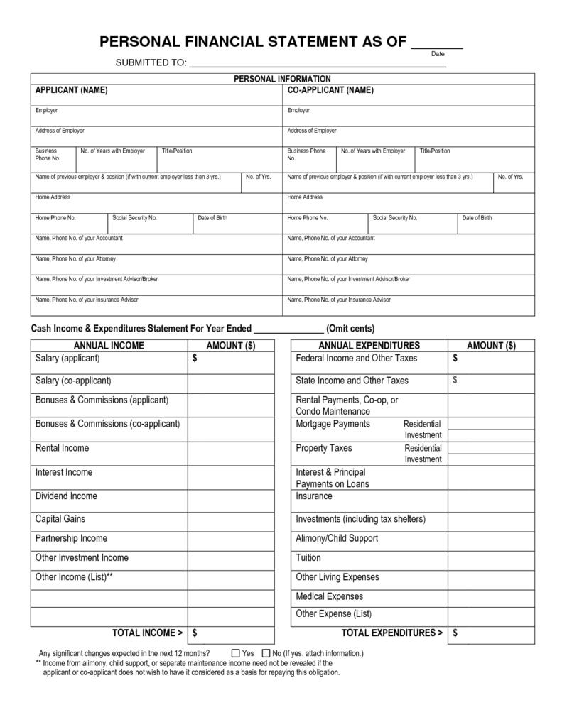 Personal Financial Statements Templates and Free Printable Personal Financial Statement Blank Personal