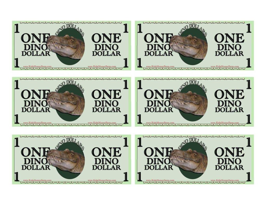 Play Dollar Bill Template and Dino Dollars Money Templates for the Dinosaur Lover Free