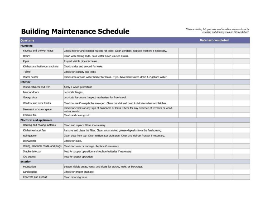 Preventive Maintenance Spreadsheet and Vehicle Maintenance Checklist Template and Vehicle Maintenance