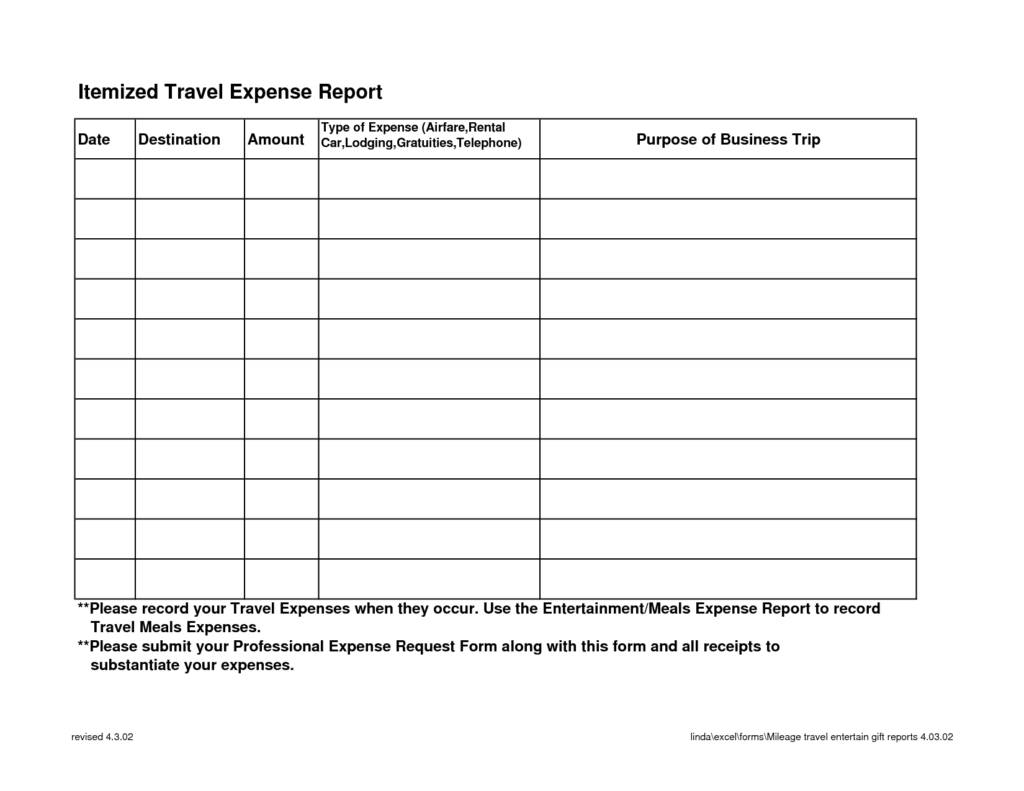Printable Expense Report Template and Free Blank Weekly Expense Report Template Sample for Personal and