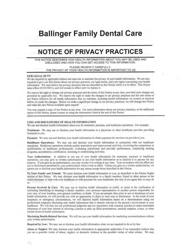 Privacy Policy Statement Sample and Ballinger Family Dental Care Privacy Policy