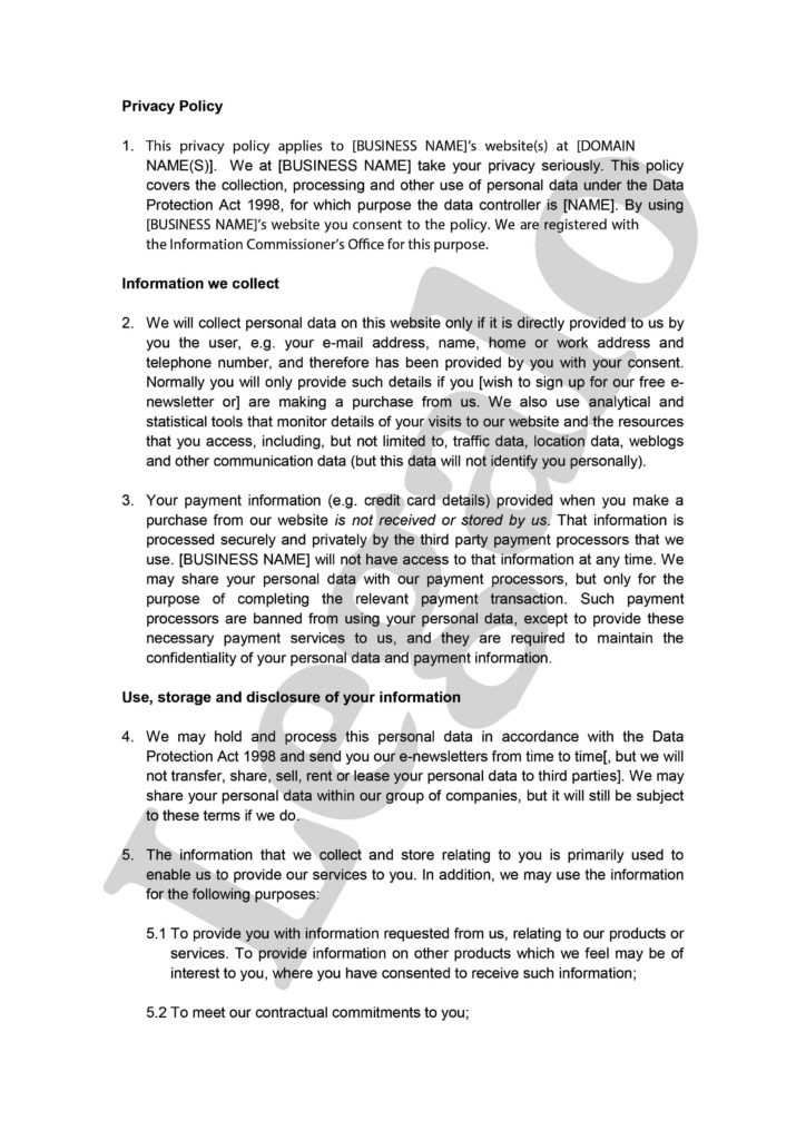 Privacy Policy Statement Sample and Privacy Policy Template Legalo United Kingdom