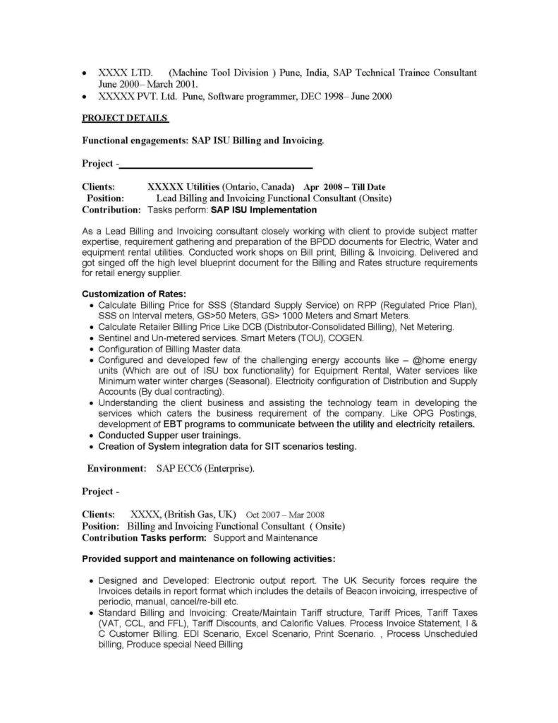 Process Server Invoice Template and Sample Sap Resume Process Consultant Sample Resume Simple Resume