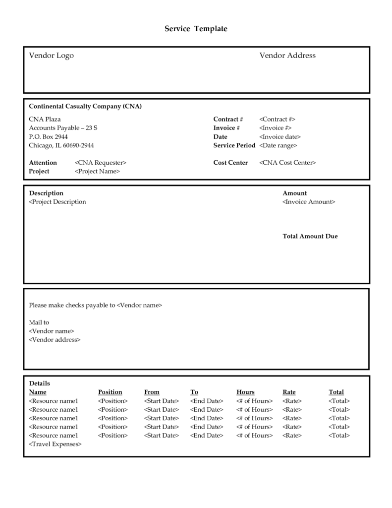 Professional Service Invoice Template and Invoice Template Services Rendered Firmsinjafo