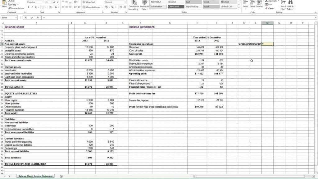 Profit & Loss Statement Example and Profit and Loss Statement Template for Self Employed Profit