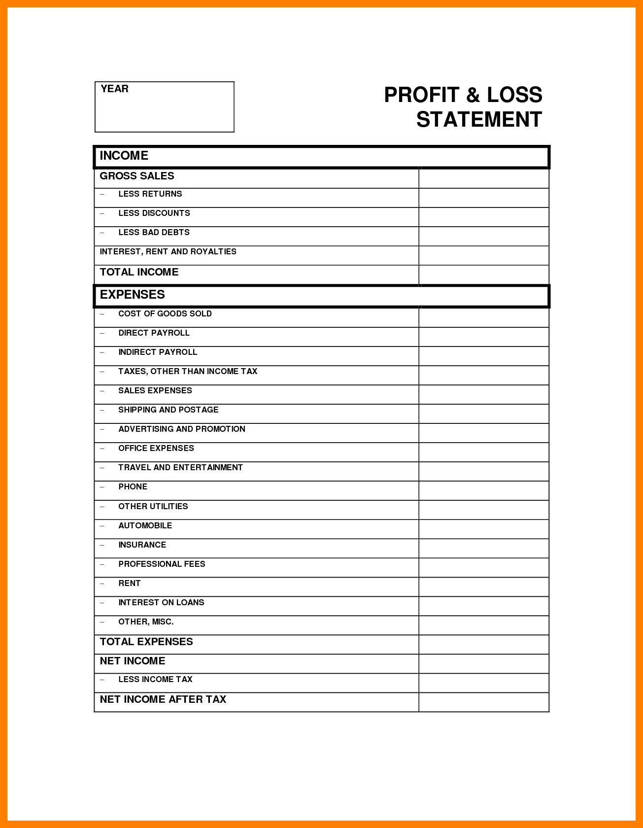 Profit and Loss Statement Sample Free and Excel Profit and Loss Template Wolfskinmall