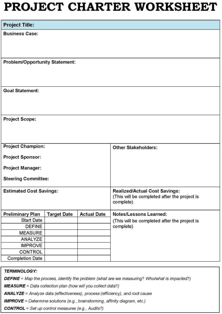 Project Planning Worksheet Template and Project Charter Templates Google Search Project Management and