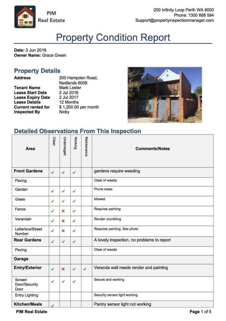 Property Condition assessment Report Template and Property Inspection Manager