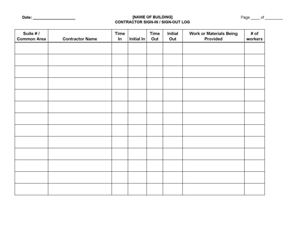 Property Management Spreadsheet and Contractor Sign In Sign Out Log Sheet Legal forms and Business