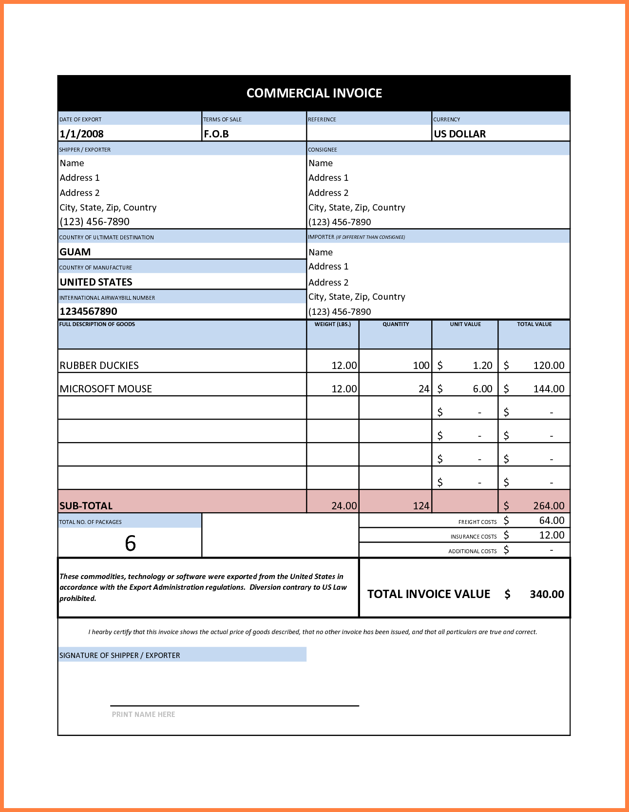 Quickbooks Invoice Sample and 7 Mercial Invoice Sample Excel Invoice Template