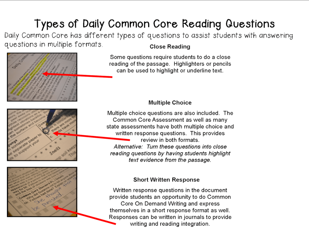 Reading Comprehension Worksheets 4th Grade Common Core and Literacy Math Ideas Morning Work Daily Mon Core Practice