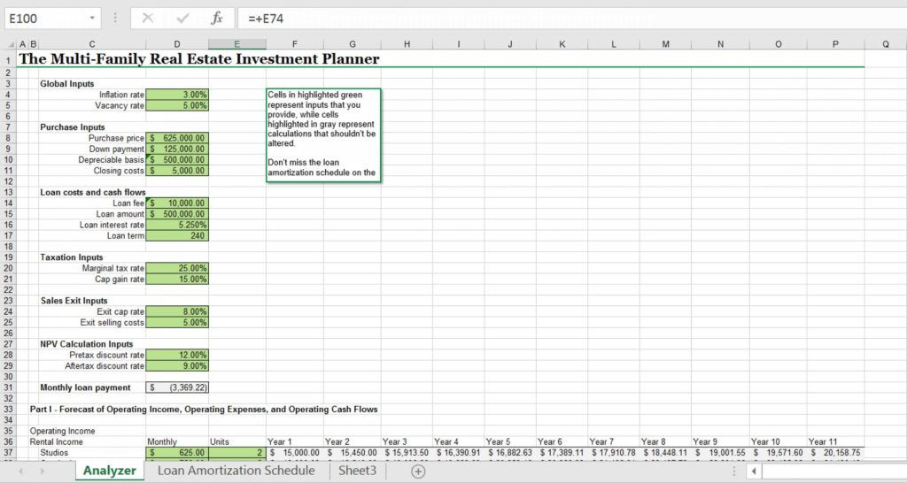 Real Estate Investment Analysis Spreadsheet and Excel Template for Multifamily Real Estate Investments Analysis