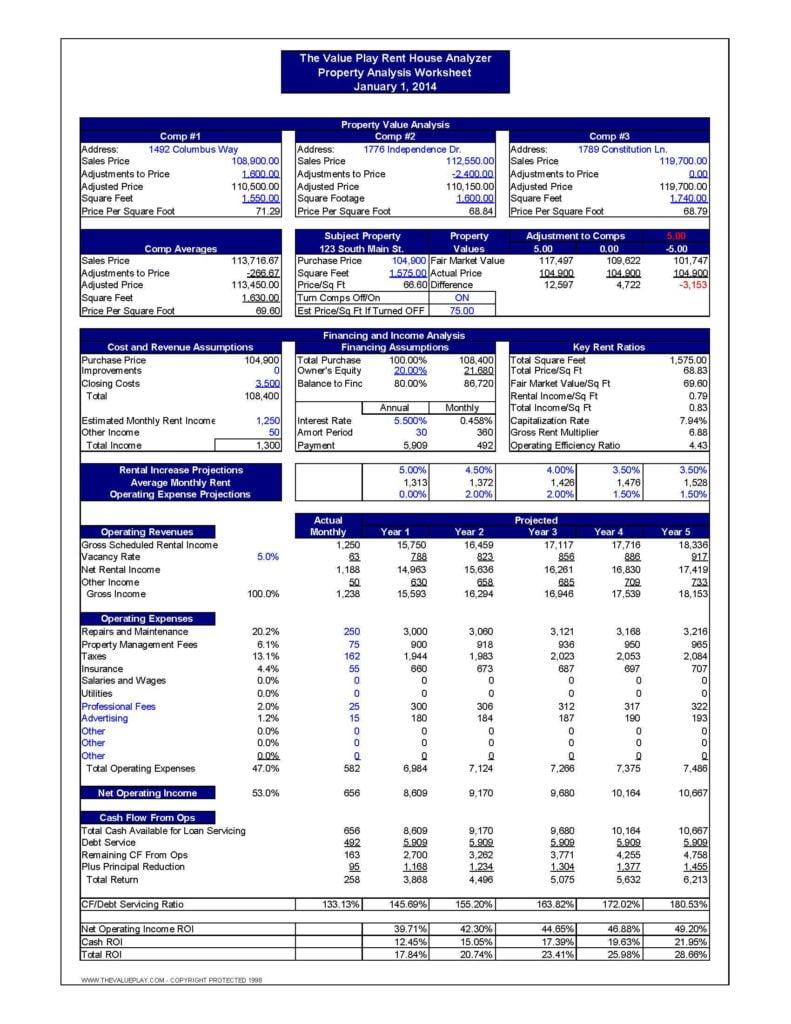 Real Estate Investment Analysis Spreadsheet and Real Estate Investment Spreadsheet Excel Greenpointer