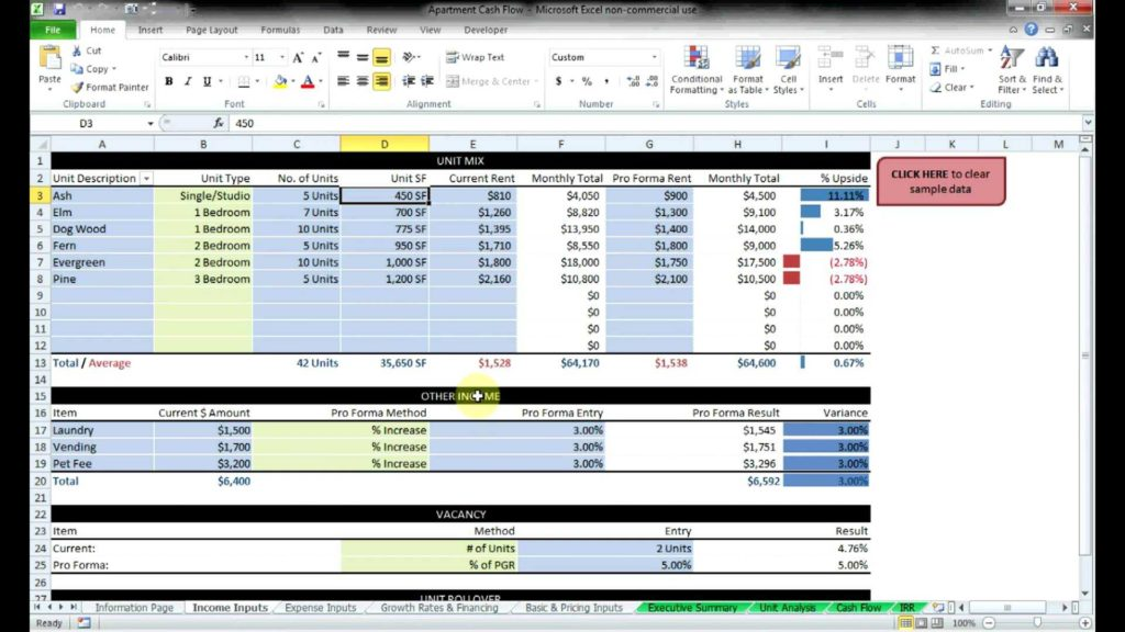 Real Estate Investment Analysis Worksheet and Mercial Real Estate Cash Flow Models by Resheets Youtube