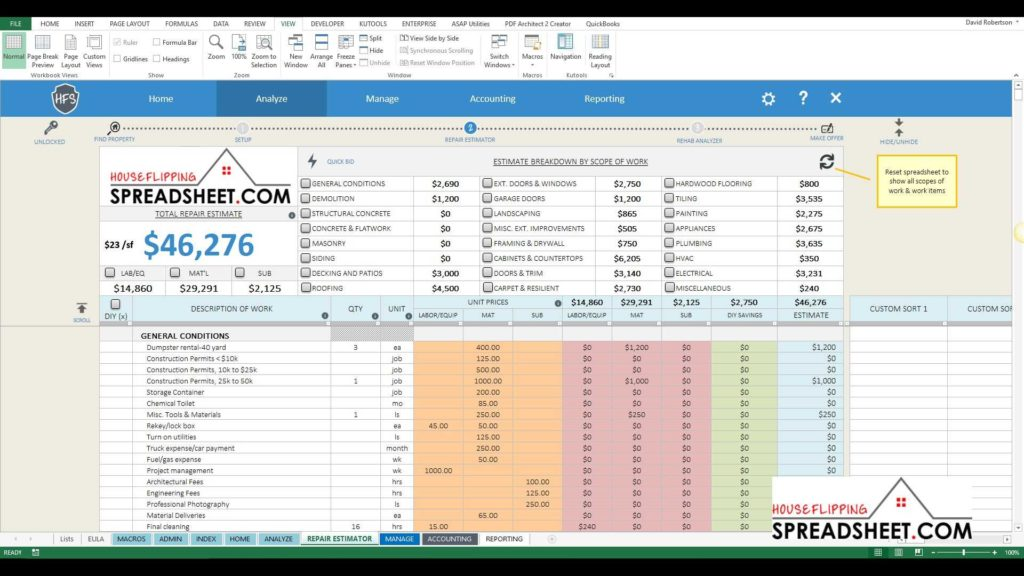 Real Estate Investment Spreadsheet and House Flipping Spreadsheet 4z New Repair Estimator Features