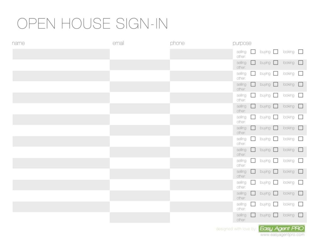 Real Estate Lead Sheet Template and 5 Free and Simple Open House Sign In Sheet Templates for Agents