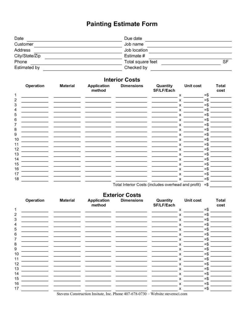 Remodeling Estimate Template and 100 Estimate Invoice Template Construction Invoice Template
