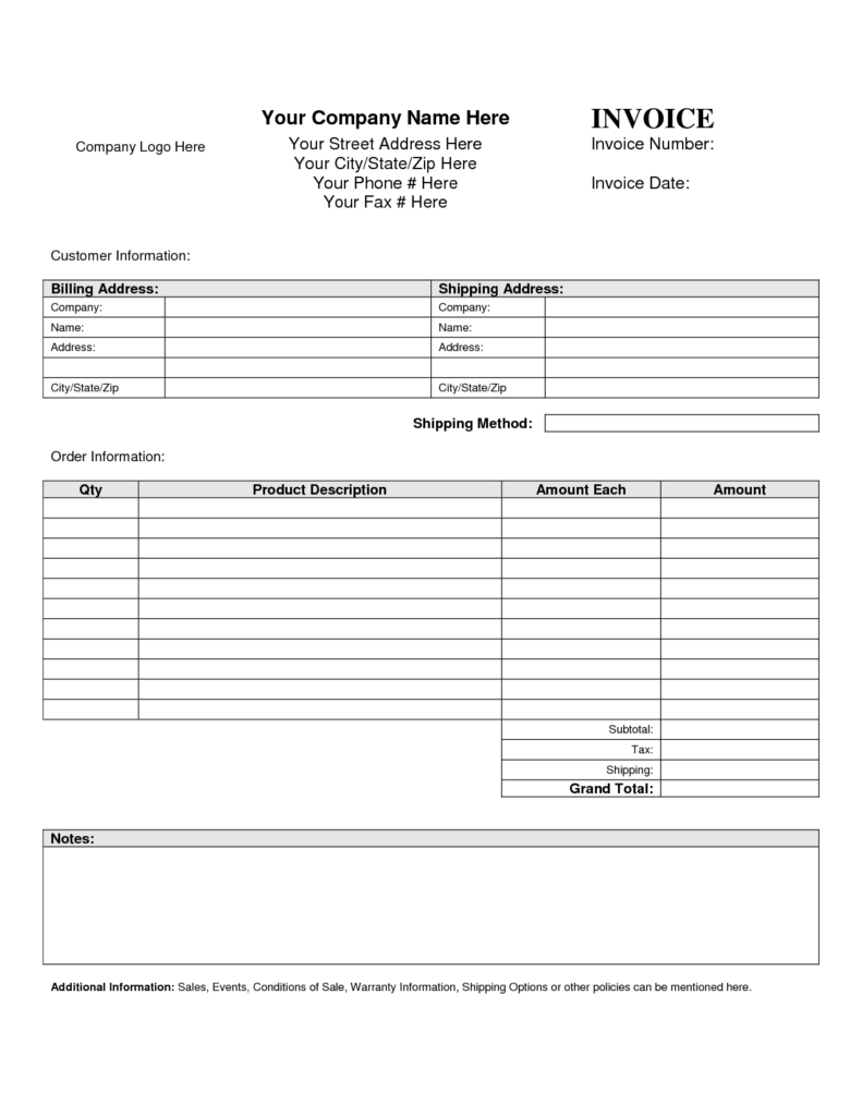 Rent Bill Template and Invoice Template Blank Printable Invoice Template