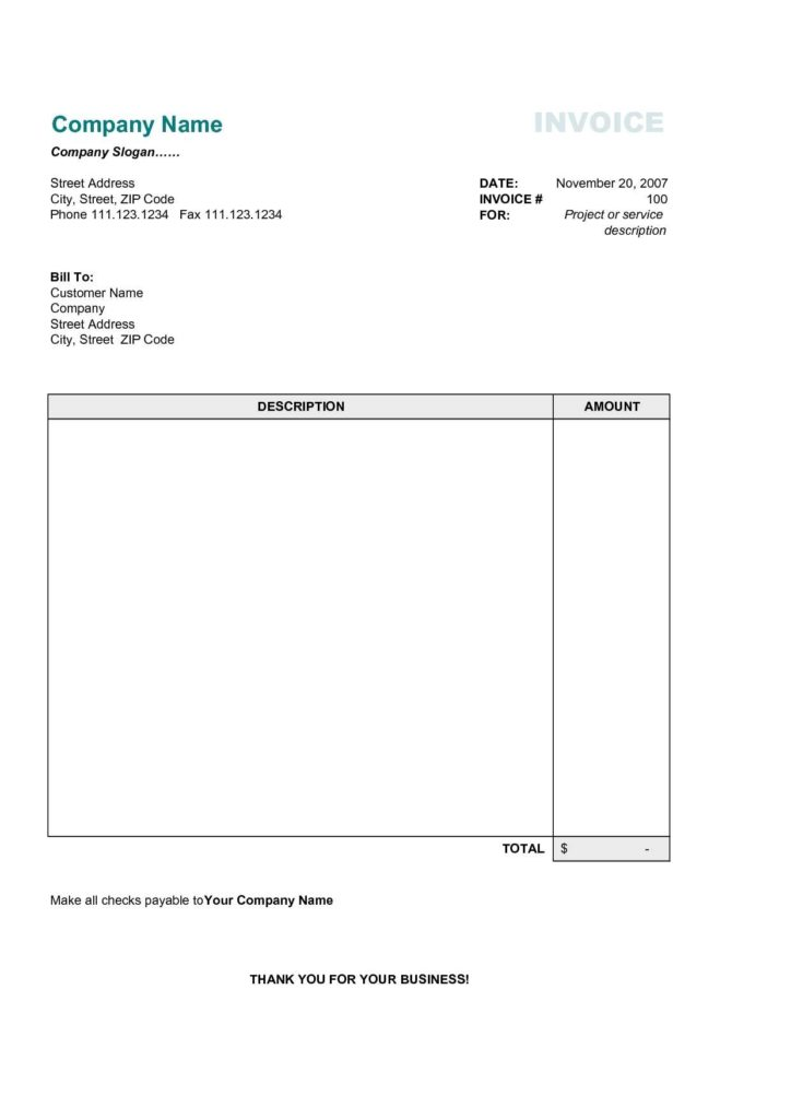 Repair Bill Template and Simple Invoice Sample Free Design Invoice Template