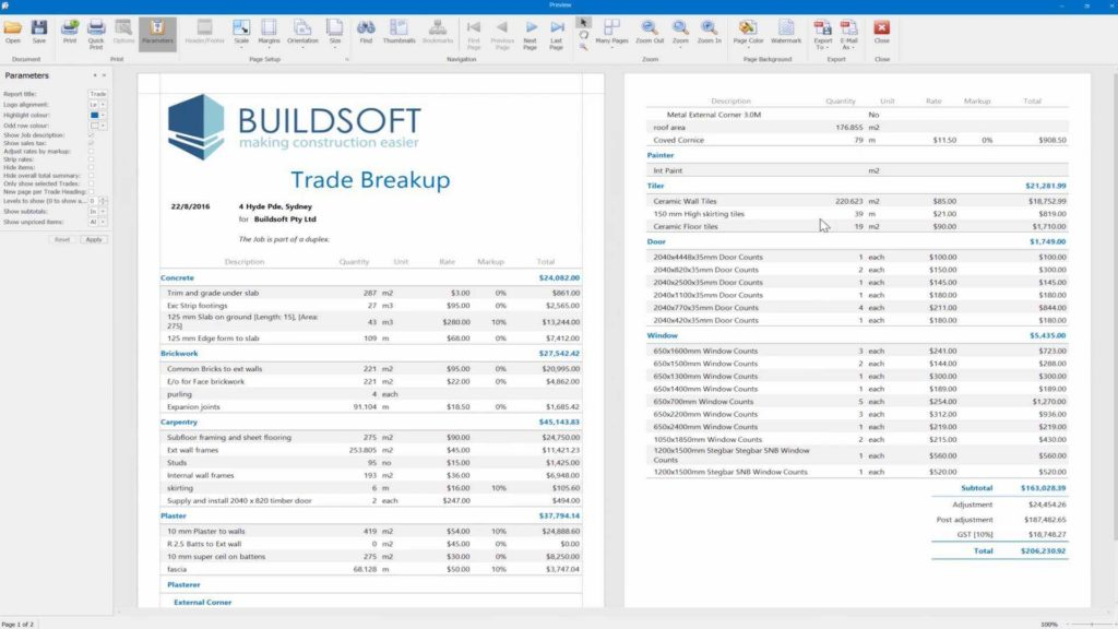 Residential Construction Estimating Spreadsheets and Buildsoft Estimating software