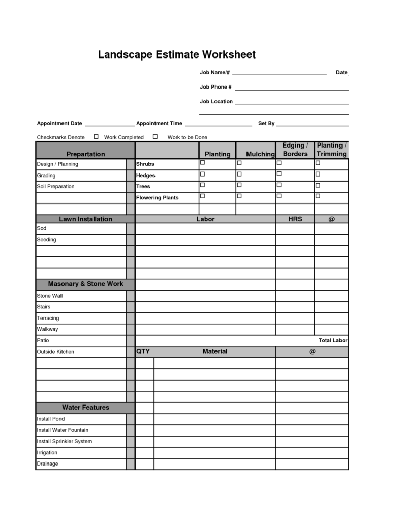 Sales Estimate Template and Printable Landscape Bid Templates Template for Landscape Bid