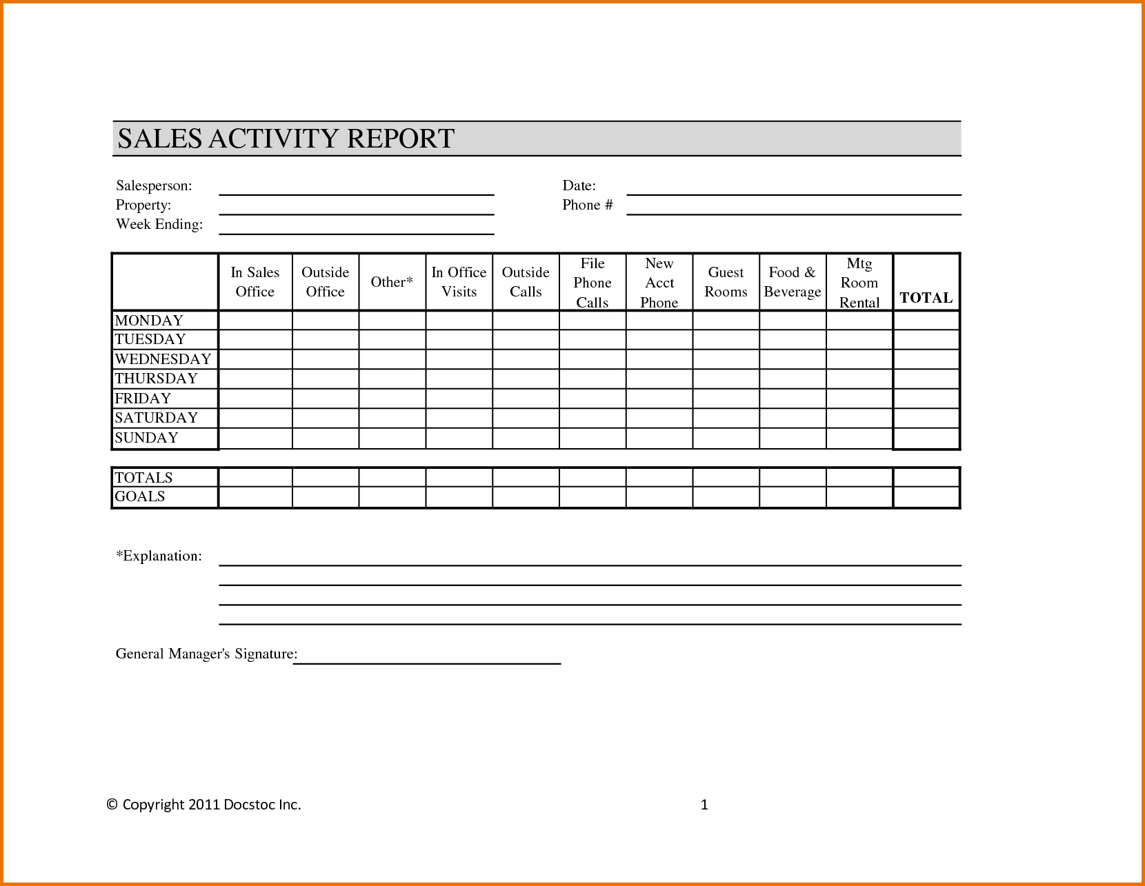 Sales Reporting Templates and Weekly Sales Activity Report Sample