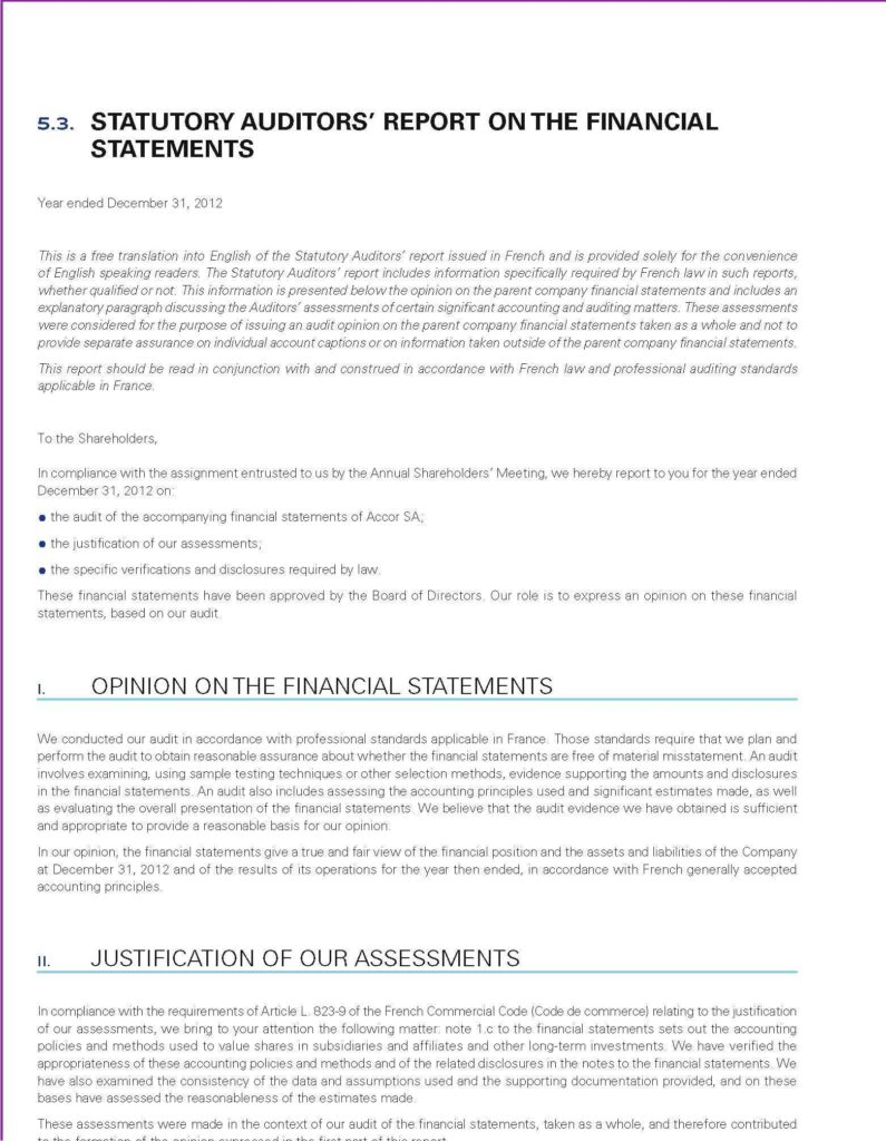 Sample Compliance Audit Report and Registration Document and Annual Financial Report Accor