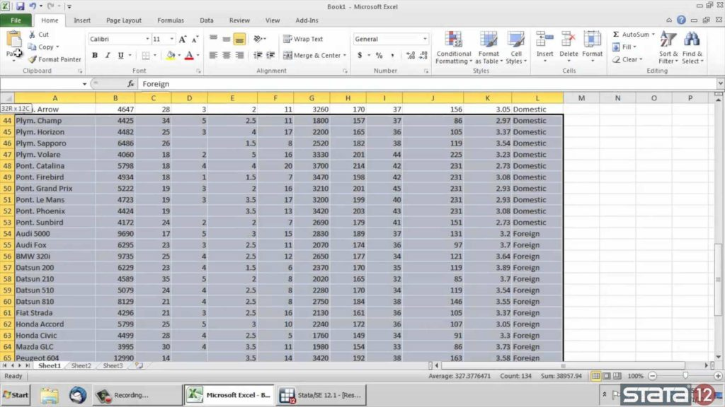 Sample Excel Data for Analysis and Copy Paste Data From ExcelInto StataYoutube