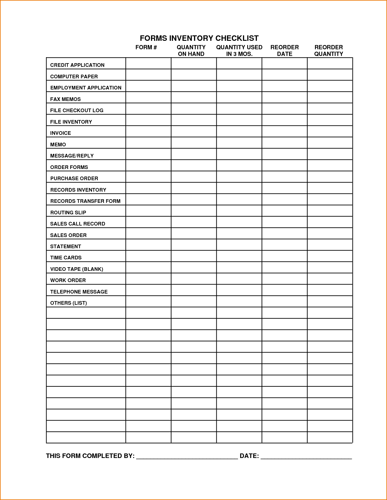Sample Excel Inventory Spreadsheets and 7 Free Checklist Template Teknoswitch