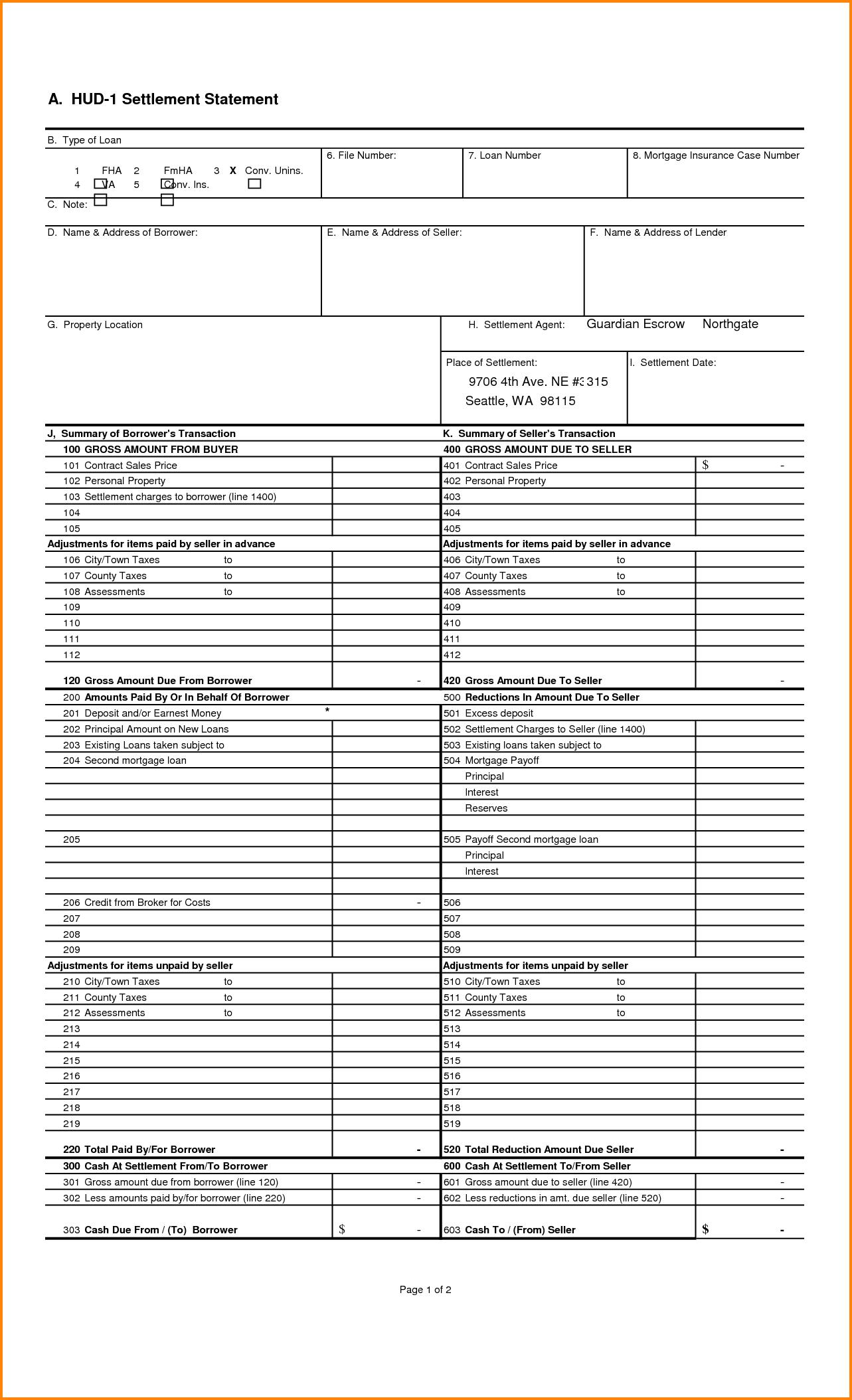 Sample Hud 1 Settlement Statement and 7 Hud 1 Settlement Statement Authorization Letter