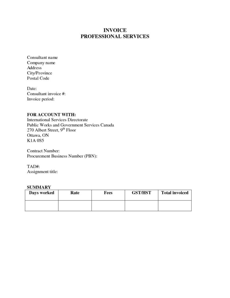 Sample Invoices for Services Rendered and Free Professional Services Invoice Template Excel Pdf Word