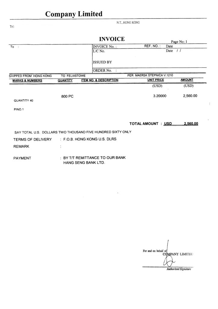 Sample Of A Commercial Invoice and Knowledge