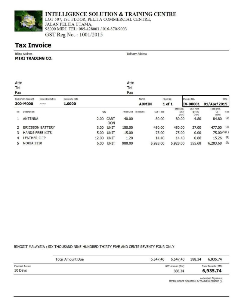 Sample Of A Invoice and Sample Gst Invoice Free Invoice