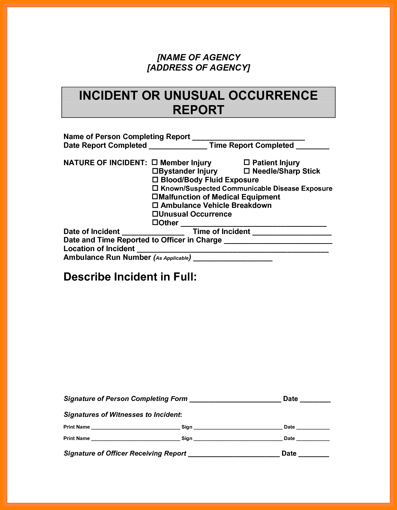 Sample Of Accident Report Writing and 8 Sample Incident Report Writing Cover Title Page