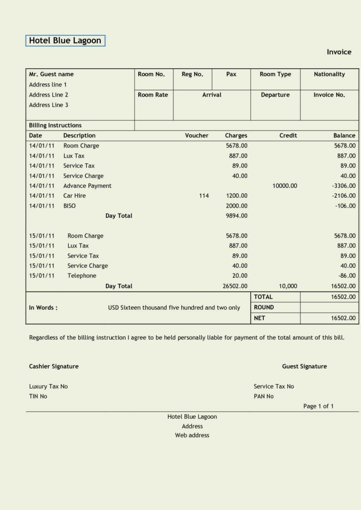 Sample Of An Invoice and Hotel Invoice Sample Invoice Template Ideas