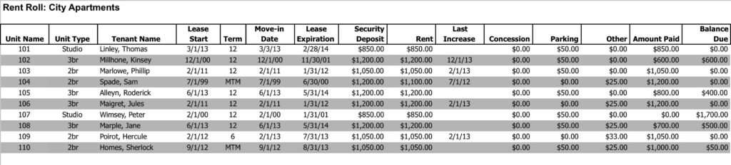 Sample Profit and Loss Statement for Rental Property and Multifamily Rent Roll Analysis