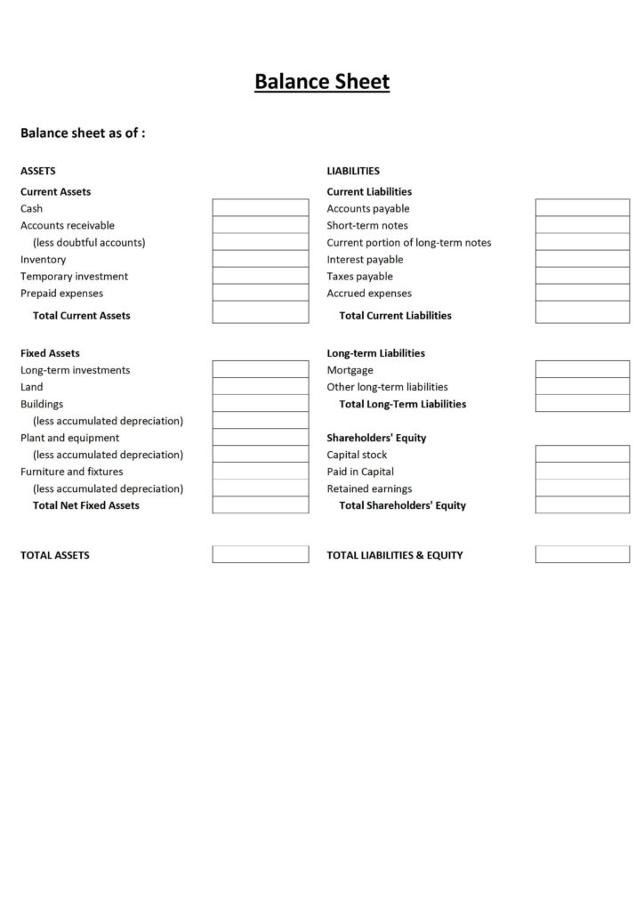 Sample Profit and Loss Statement Pdf and Free Printable Balance Sheet Template Worksheet Accounts assets